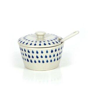 Zuckerdose mit Löffel aus Keramik, Set Drops  - Mitienda Shop