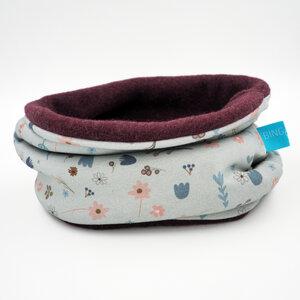 winterfester Loop, Blumen Graublau aus Bio-Baumwolle - bingabonga®