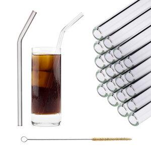 HALM Glasstrohhalme Trinkhalme 20x 23 cm (gebogen) PartySet Trinkhalme aus Glas + Reinigungsbürste - HALM