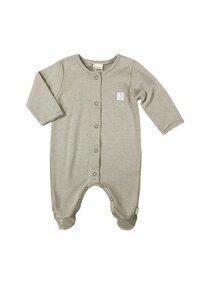 Baby Overall olivgrün / geringelt mit Fuß - Lana naturalwear