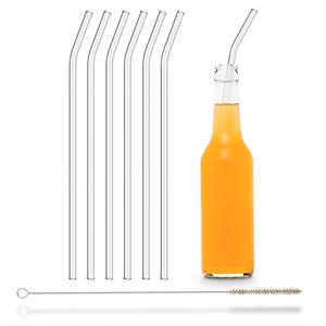 HALM Strohhalm aus Glas Trinkhalm für 0,33 & 0,6 L Flaschen 6x  30 cm (gebogen) + Reinigungsbürste - HALM