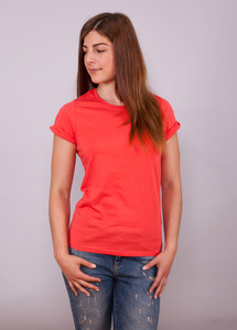 Shirt Womens Roll Up Sleeve Coral - EarthPositive