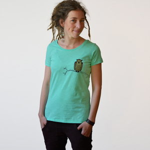 Damen T-Shirt Eule mintgrün - Cmig