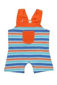 Baby Overall, blau/rot geringelt - sense-organics