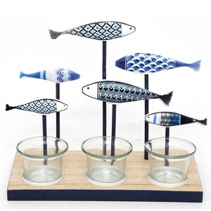 Kerzenhalter 6 Fische blau  - Mitienda Shop