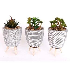 3er Set Blumentöpfe mit Kunstpflanzen  - Mitienda Shop