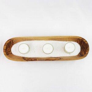 3er Teelichthalter aus Holz Wellness mit Sand - Mitienda Shop