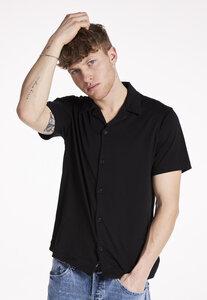 Bowling Shirt Black, 70% Bio-Baumwolle, 30% REFIBRA - PHYNE
