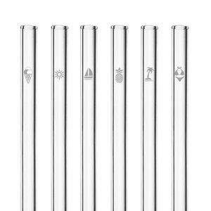 HALM Glasstrohhalme Trinkhalme mit gravierten Motiven SOMMER EDITION 6x 20 cm (gerade) + Reinigungsbürste - HALM