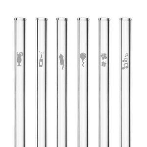 HALM Glasstrohhalme Trinkhalme mit gravierten Motiven BIRTHDAY PARTY EDITION 6x 20 cm (gerade) + Reinigungsbürste - HALM
