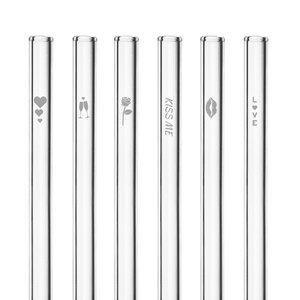 HALM Glasstrohhalme Trinkhalme mit gravierten Motiven LOVE EDITION 6x 20 cm (gerade) + Reinigungsbürste - HALM