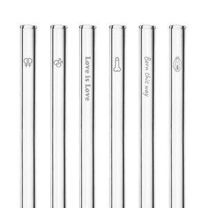 HALM Glasstrohhalme Trinkhalme mit gravierten Motiven PRIDE EDITION 6x 20 cm (gerade) + Reinigungsbürste - HALM