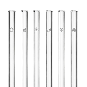 HALM Glasstrohhalme Trinkhalme mit gravierten Motiven KLIMAWANDEL EDITION 6x 20 cm (gerade) + Reinigungsbürste - HALM