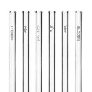 HALM Glasstrohhalme Trinkhalme mit gravierten Motiven OZEANKIND EDITION 6x 20 cm (gerade) + Reinigungsbürste - HALM