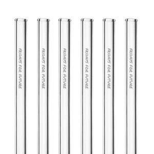 HALM Glasstrohhalme Trinkhalme mit gravierten Motiven FRIDAYS FOR FUTURE EDITION 6x 20 cm (gerade) + Reinigungsbürste - HALM