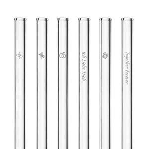 HALM Glasstrohhalme Trinkhalme mit gravierten Motiven WEDDING EDITION 6x 20 cm (gerade) + Reinigungsbürste - HALM