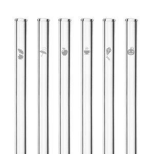 HALM Glasstrohhalme Trinkhalme mit gravierten Motiven HERBST EDITION 6x 20 cm (gerade) + Reinigungsbürste - HALM