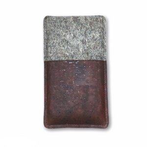 Handytasche aus Wollfilz und dunkelbraunem Kork - 11-lein