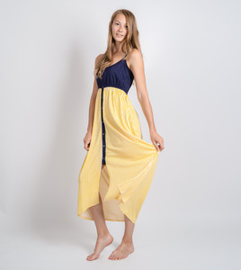 Maxikleid Amelia Navy & Yellow Stripes - Gary Mash