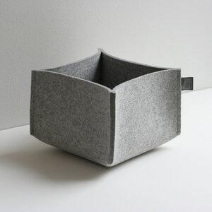 Filzkorb hellgrau-meliert 5 mm 14x22x22 von tuchmacherin Aufbewahrung Filz - tuchmacherin - handgewebtes design + filz