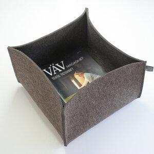 Filzkorb graubraun-meliert 5 mm 22x36x36 von tuchmacherin Aufbewahrung - tuchmacherin - handgewebtes design + filz