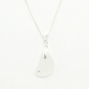 """Halskette """"Funkel"""", Seeglas mit einem Swarovski an einer Silberkette - steinfarben"""