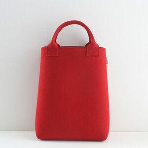 Filztasche Shopper rot aus Filz 'Emma' - tuchmacherin - handgewebtes design + filz