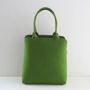 Filztasche Shopper oliv-grün - Schultertasche aus Filz 'Kate' - tuchmacherin - handgewebtes design + filz