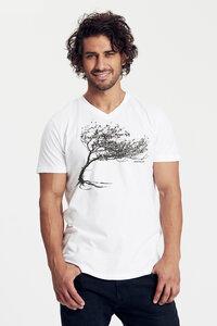 "Bio-Herren-T-Shirt V Neck ""Windy Tree"" - Peaces.bio - Neutral® - handbedruckt"