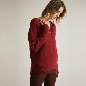 Pullover mit V-Ausschnitt GOTS aus Schurwolle (kbT) und Baumwolle (kbA) - LANIUS