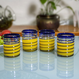 Gläser 4er Set spirale blau, handgemacht - Mitienda Shop