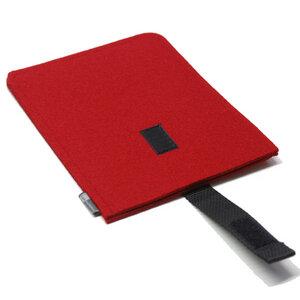 E-Reader-Hülle Filz rot - tuchmacherin - handgewebtes design + filz