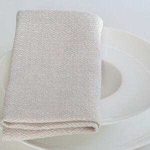 Stoffserviette aus reinem Leinen in Natur und Weiß.  - tuchmacherin - handgewebtes design + filz