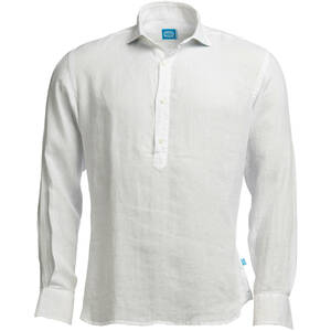 MAMANUCA Leinen Polera Shirt - Weiss - Panareha