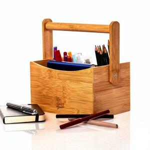 Schreibtischorganizer mit Tragehalterung aus Bambus z.B. für Stifte / Schere usw. - Bambuswald