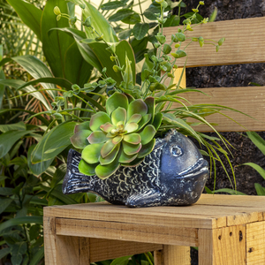 Blumentopf aus Ton Fisch blau - Mitienda Shop