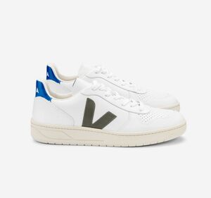 Sneaker Damen - V-10 Leather - Extra White Kaki Indigo - Veja
