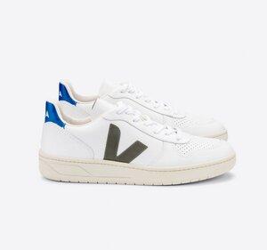 Sneaker Herren - V-10 Leather - Extra White Kaki Indigo - Veja