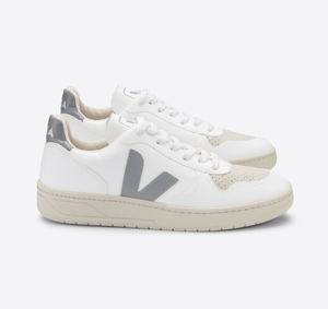 Sneaker Damen Vegan - V-10 CWL - White Oxford-Grey - Veja