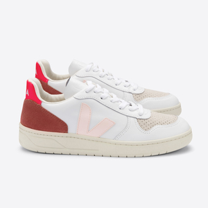 Sneaker Damen - V-10 Leather - Extra White Petale Rose Fluo  - Veja