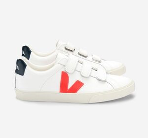 Sneaker Damen - 3-Lock Logo Leather - Extra White Orange Fluo Nautico - Veja