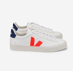 Sneaker Damen - Campo Chromefree Leather - Extra White Orange Fluo Cobalt - Veja