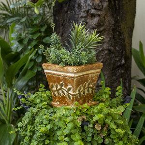 Blumentopf aus Ton mit Teller Girlande - Mitienda Shop