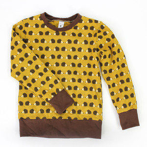 Kinder-Longsleeve gelb mit Igeln - fuxandfriends