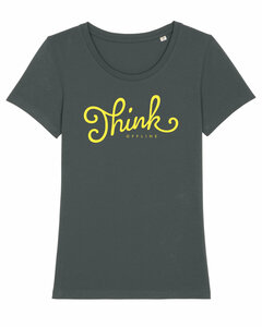 "Damen T-Shirt aus Bio-Baumwolle ""Think Offline"" - University of Soul"