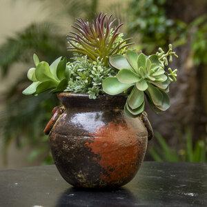 Blumentopf aus Ton, Ollita Argollas braun glänzend - Mitienda Shop
