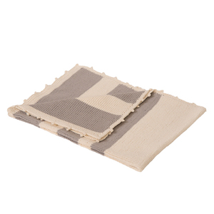 Baby-Strickdecke ELVIRA weiß/grau gestreift reine Baumwolle - bosnanova