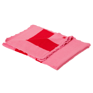 Baby-Strickdecke ELVIRA pink/rot gestreift aus reiner Baumwolle - bosnanova
