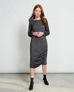 Midi Kleid TRIBECA in silber-schwarz - JAN N JUNE