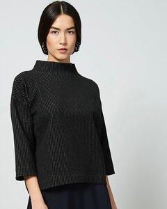 Pullover KALLISTO in schwarz mit Nadelstreifen - JAN N JUNE